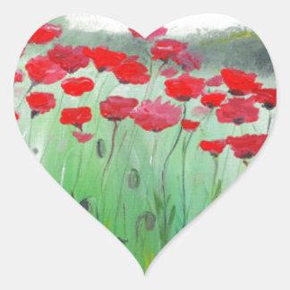 Poppies flowers poppy field heart sticker