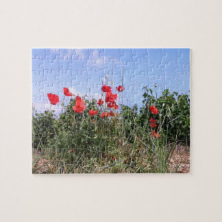 Poppies, Grape Vines, and Blue Sky Jigsaw Puzzle