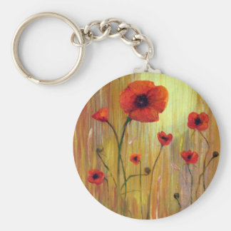 Poppies in a field basic round button keychain