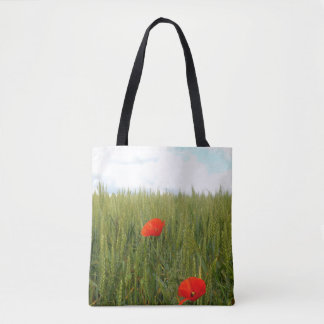 Poppies in a Wheat Field All-Over-Print Tote Bag