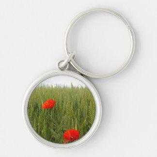 Poppies in a Wheat Field Key Ring