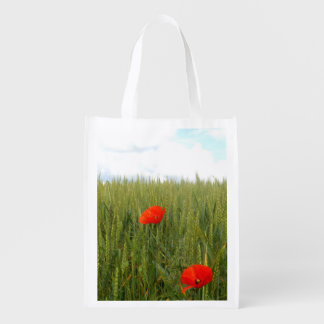 Poppies in a Wheat Field Reusable Bag