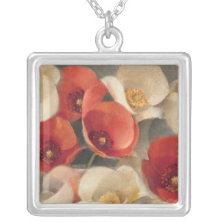 Poppies in Full Bloom Silver Plated Necklace