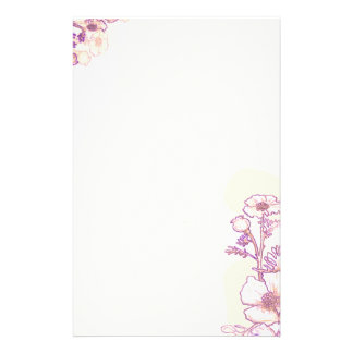 Poppies in Purple and Parchment Stationery Paper