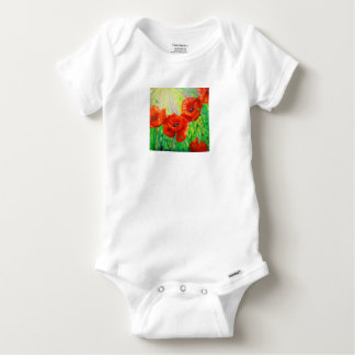 Poppies in sunlight baby onesie