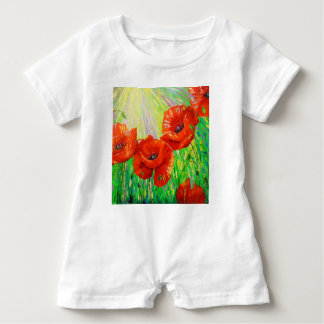 Poppies in sunlight baby romper