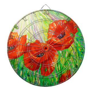 Poppies in sunlight dartboard