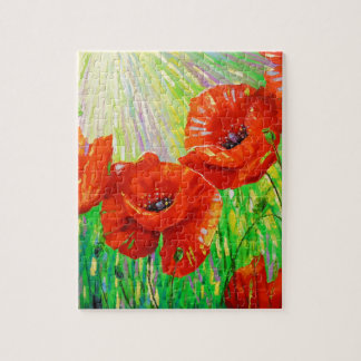 Poppies in sunlight jigsaw puzzle