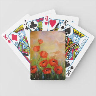 Poppies in the moonlight bicycle playing cards
