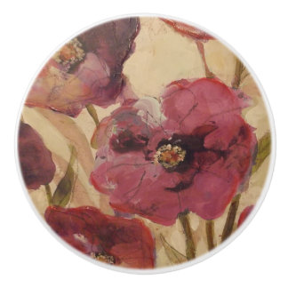 Poppies Kitchen Bedroom Ceramic Knob