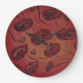 poppies large clock