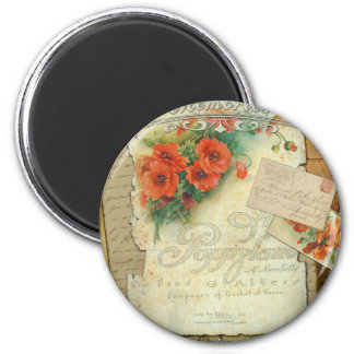 Poppies Memories and French Script Refrigerator Magnet