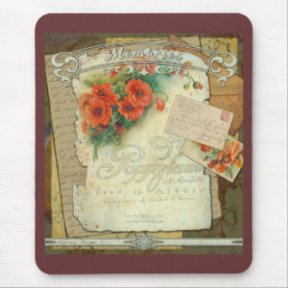 Poppies Memories and French Script Mouse Pad