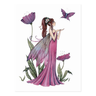 Poppies of Amethyst Fairy and Butterfly Postcard