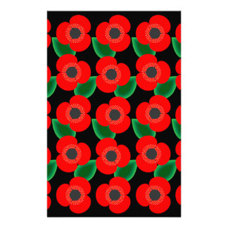 Poppies on Black Personalized Stationery