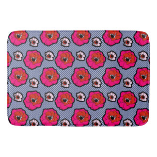 Poppies On Blue Bath Mat
