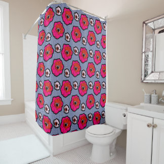 Poppies On Blue Shower Curtain