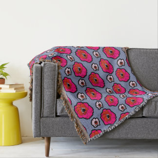 Poppies On Blue Throw Blanket