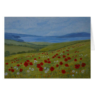 Poppies on the Coast greeting card, customise Card