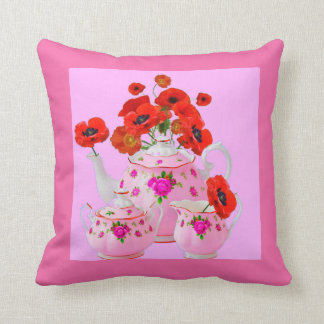 POPPIES & PORCELAIN TEA  SERVICE FLORALS THROW PILLOW