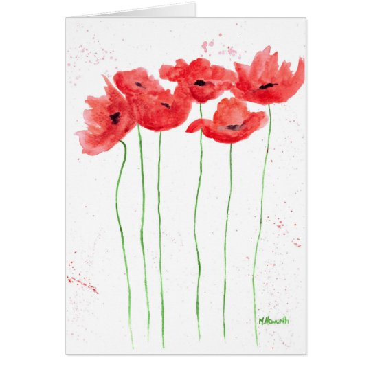 Poppies red flowers card