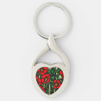Poppies Silver-Colored Twisted Heart Keychain