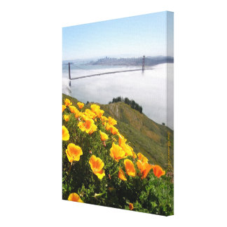 Poppies smile at the  Golden Gate Bridge 11x14x.75 Canvas Print