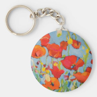 Poppies VI Basic Round Button Keychain