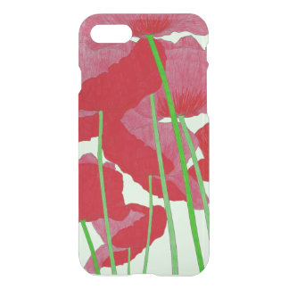 Poppies Watercolor Design Bright Red and Green iPhone 8/7 Case