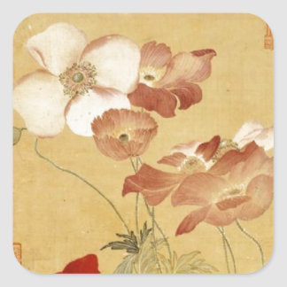 Poppies -  Yun Shouping (恽寿平) Square Sticker