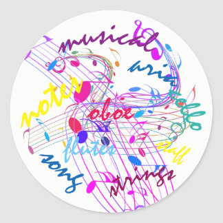 Poppin Colors Musical Notes on Round Stickers