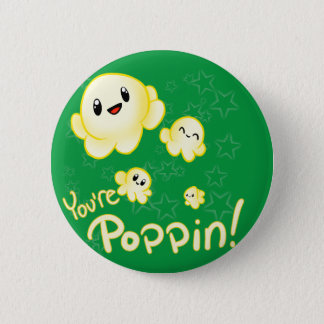 Poppin Popcorn 2 Inch Round Button