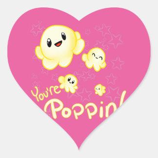 Poppin Popcorn Heart Sticker