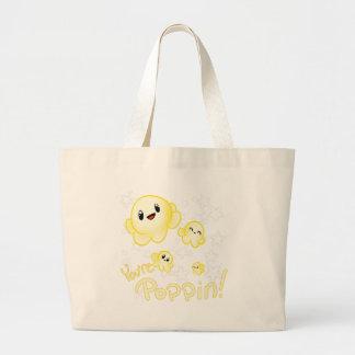 Poppin Popcorn Large Tote Bag