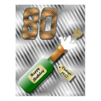 Popping Champagne Bottle 80th Birthday Postcard