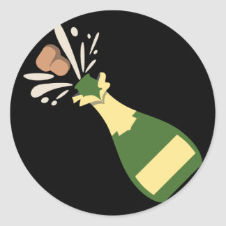 Popping Champagne Emoji Classic Round Sticker
