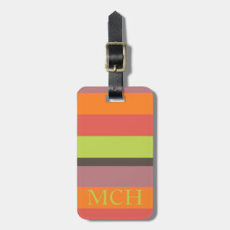 Popping Cupcakes Palette Stripe Monogram Luggage Tag