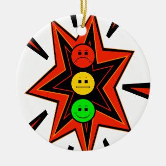 Popping Moody Stoplight Ceramic Ornament