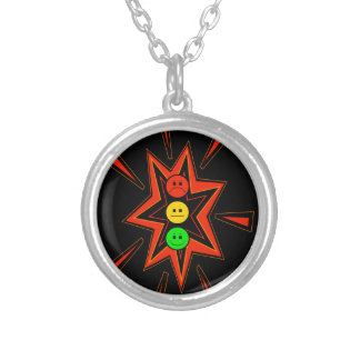 Popping Moody Stoplight Silver Plated Necklace