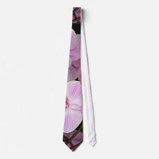 Popping Pink Orchids On A Black Background Tie