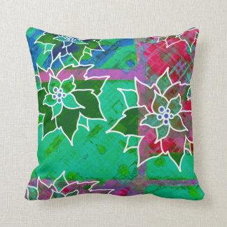 Popping Poinsettias Christmas Throw Pillow