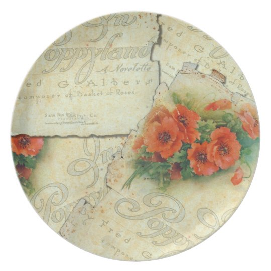 Poppy and Vintage Music Sheet Plate
