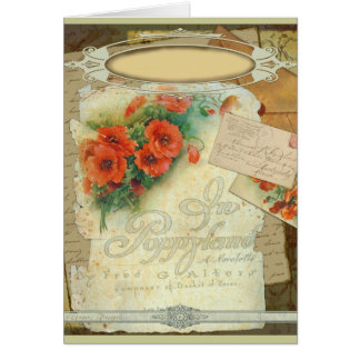 Poppy Antique Music Sheet Pastiche Card