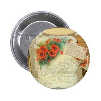 Poppy Antique Music Sheet Pastiche Pins