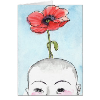 """Poppy Baby"" greeting card, new baby Card"
