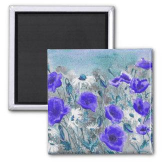 'Poppy Blue' Magnet