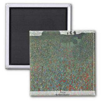 Poppy By Klimt Gustav Square Magnet