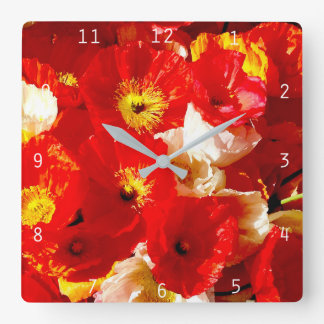 Poppy-cock Square Wall Clock