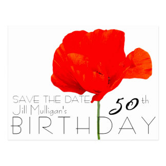 POPPY Collection 50th Birthday Save the Date Postcard