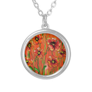 poppy day silver plated necklace